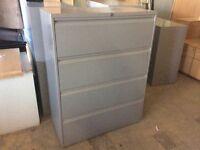 Grey metal 4 drawer storage cabinet