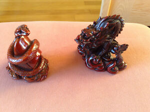 Statue grand Dragon rouge Feng Shui +serpent rouge chinois