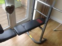 Home multigym, weights bench and bar bells