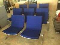 3x Blue fabric benches
