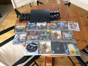 PS3 Slim 120gb - 15 games - 4 controllers. HDMI cord included