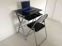Black Glass Laptop Desk with Folding Chair