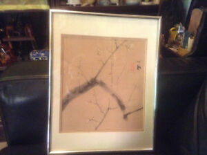 ANTIQUE CHINESE WATERCOLOR & INK PAINTING TREE BRANCHES