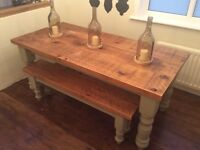 ❤️6ft x 3ft reclaimed pine dining farmhouse table & benches❤️
