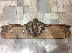Solid Oak Antique Wall Mounted Coat Hanger