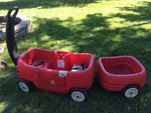 Wagon and pull-along trailer