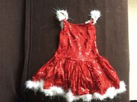 Sparkly sequin santa dress costume for girls 6-8 years
