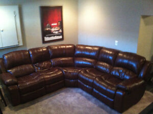 Leather Sectional with Recliners