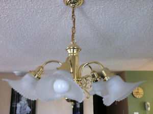 Brass and Frosted Glass Light Fixture