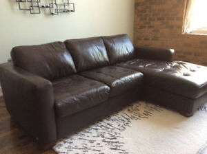 Brown Leather Italsofa Chaise Style Sofa