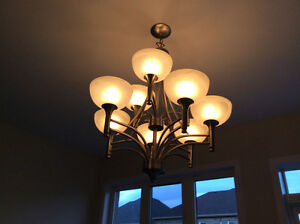 2 BEAUTIFUL BRUSHED NICKEL CHANDELIERS, MINT CONDITION