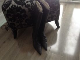 Used Clarke's Wide Calf Real Leather Boots Size 5