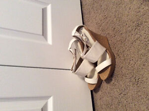 Never Worn Charlotte Russe White and Cork Strappy Wedge Heel 7.5