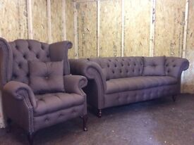 CHESTERFIELD SOFA AND SCROLL BROWN FABRIC £950