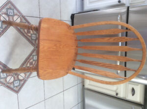 4 solid oak wooden chairs