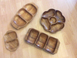 retro wooden party favor serving dishes
