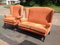 Queen Anne Wing Back 2 Seater Sofa & Fireside Armchair