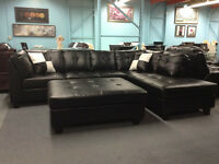 3PC BLACK BONDED LEATHER SECTIONAL $1398