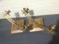 Pair of Double Brass Piano Candle Sconces
