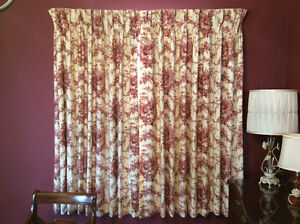 2 pairs lined toile curtains