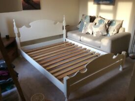 Cream painted oak double bed frame