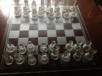 Glass chess set - complete in good condition Glass pieces with chess glass board game Art Deco