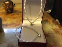 Real pearl necklace and bracelet silver hart hallmarked