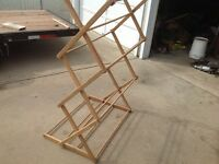 Vintage clothes drying rack & Buck saw