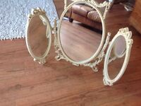 Vintage Shabby Chic Louis Style French Triple Dressing Table Mirror