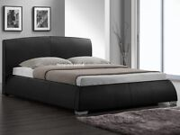 NEW SALE OFFER BRAND NEW SPECIAL OFFER BED AND MATTRESS BLACK LEATHER FAST DELIVERY