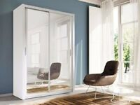 WHITE HIGH QUALITY MASSIVE Sliding Door Wardrobe BOSTON Mirrored Detail Doors 120 150 180 203 CM