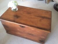 Antique old vintage pine wood box trunk storage coffee table