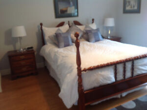 Five Poster Mahogany Headboard and Bed Frame For Sale