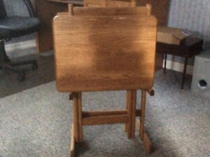 OAK TV TRAYS with stand. Very good condition. Seldom used.
