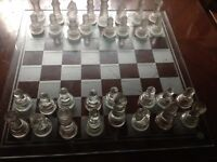 Glass chess set - complete in good condition Glass pieces with chess glass board