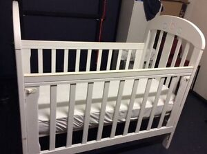 white baby cot + matress + Change table delivery available Melbourne CBD Melbourne City Preview