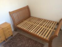 Double bed frame sleigh style solid wood