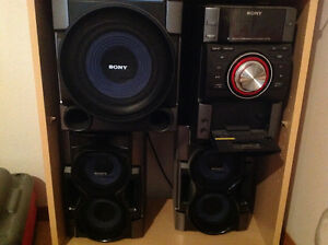 Sony stereo with subwoofer, iPod Dock and speakers