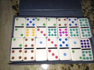 Vintage ivory style dominos in case for sale London Ontario image 1