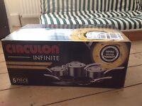 Brand New Circulon Infinate 5 Piece Cookware set