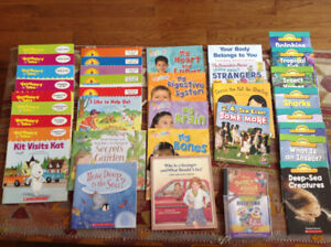 55 GENTLY used educational children's books,slide & read sets++