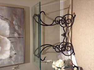 Bombay company glass and wrought iron console table