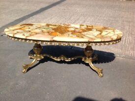 Vintage Italian Marble & Brass Oval Ornate Coffee Table