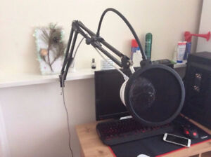 Blue Snowball With Stand And Pop Filter