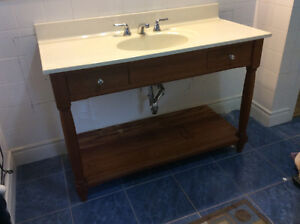 Marble Top Cherry Vanity with Hardware