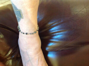 Silver and blue anklet