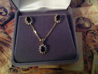 "10K Yellow solid gold ..Sapphire Necklace . Chain 17"", Pendant,"