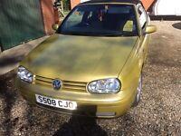 Volkswagen Golf convertible yellow gold 2.0 petrol manual