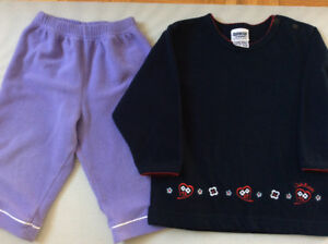 Gap OshKosh baby girl fleece pants and pullover top