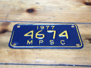 1977 MICHIGAN PUBLIC SERVICE COMMISSION metal licence plate !